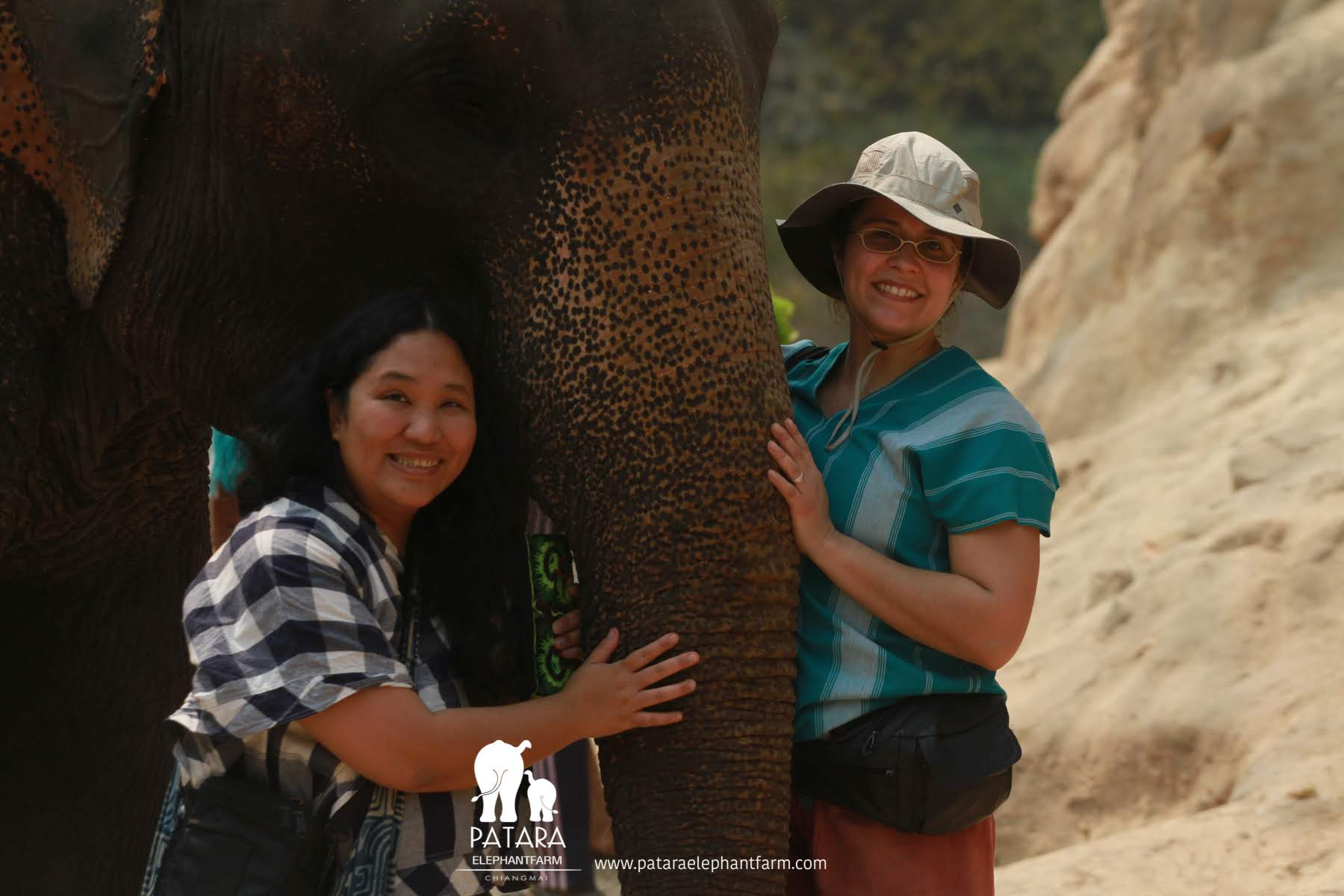 Copy of Vanessa on right and her friend, Lalipa on the left with elephant Boon Dee