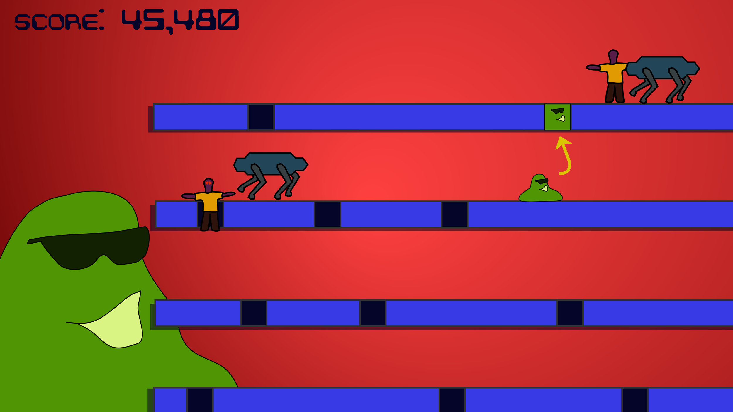 A  rudimentary  sketch of the game's first (and only?) level.