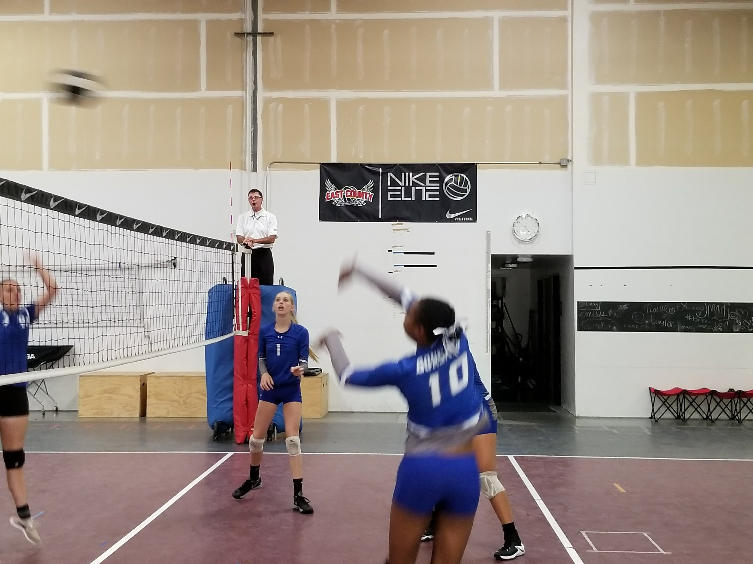 Najia Lamb #10 kills a perfect set from Abigail Reinard #1 in fourth and final winning game of the match.