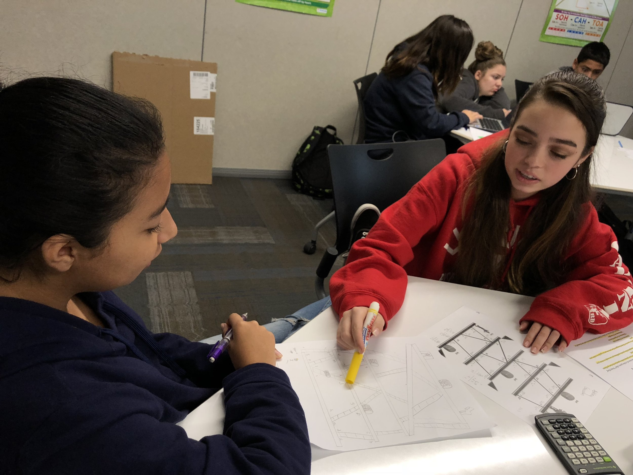 Students working on math assignment