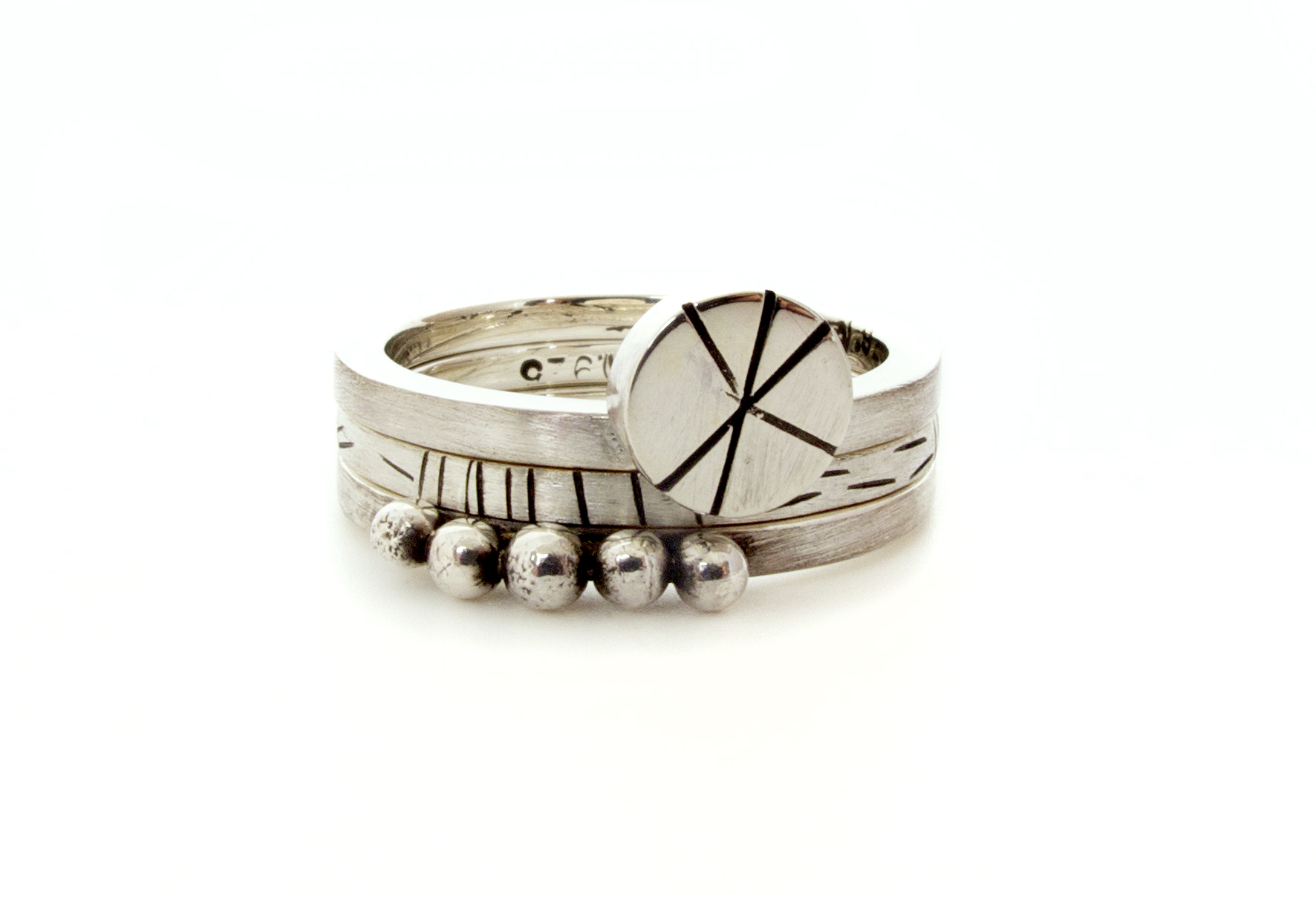 granules, star disc & fine lines ring stack set, in sterling silver