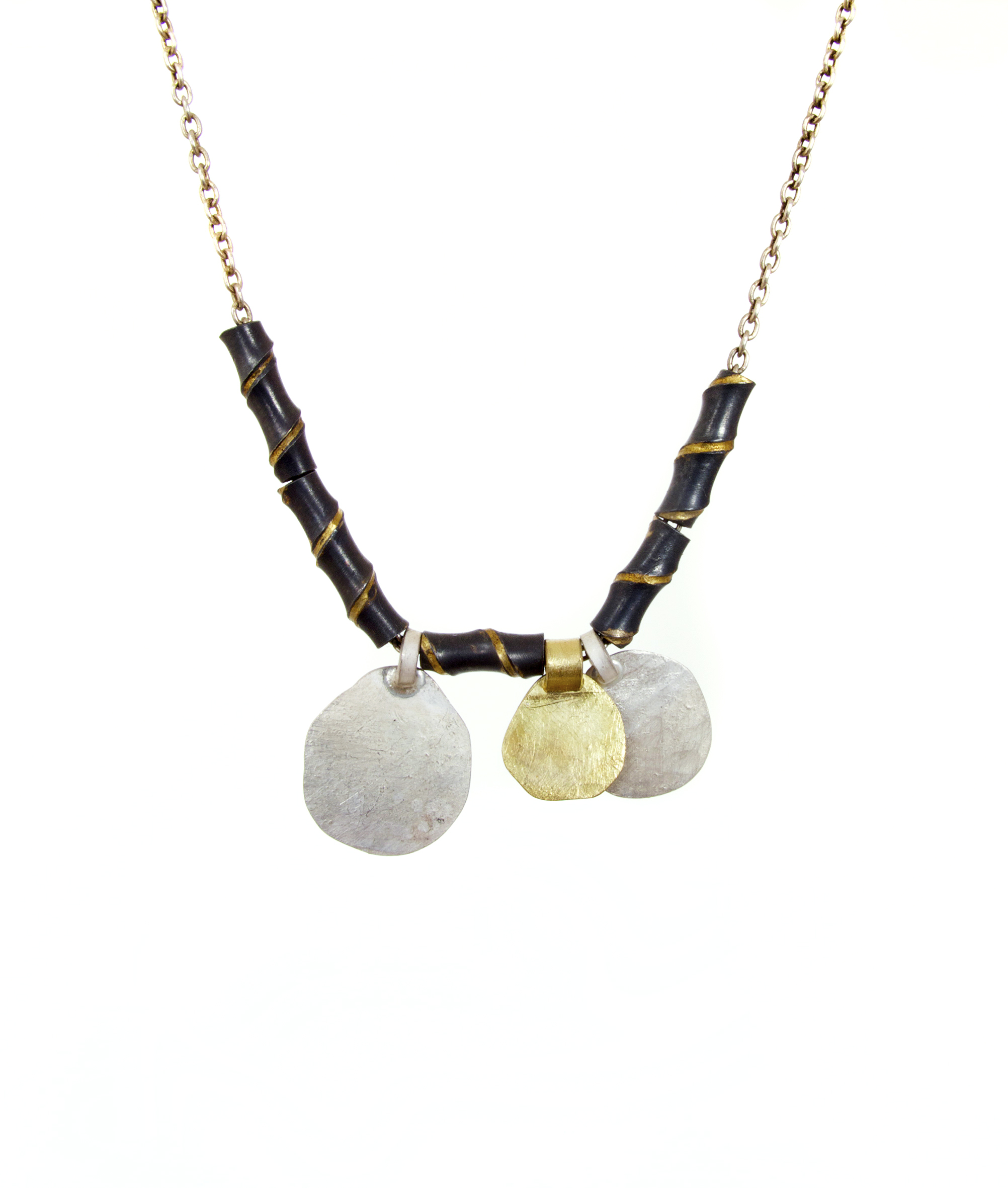 Disc & Tube beads, oxidised sterling silver & 18ct yellow gold