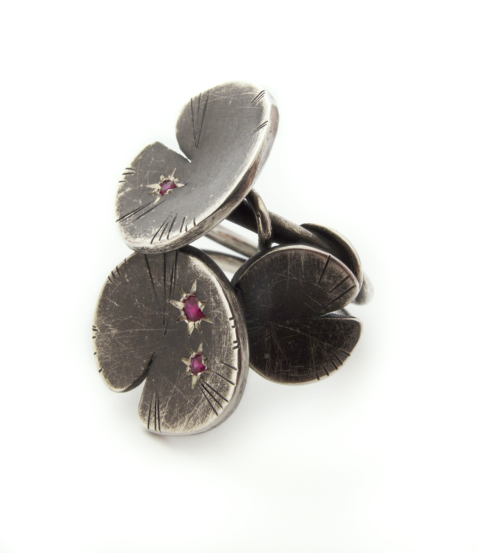 ruby lilypad ring in oxidised sterling silver