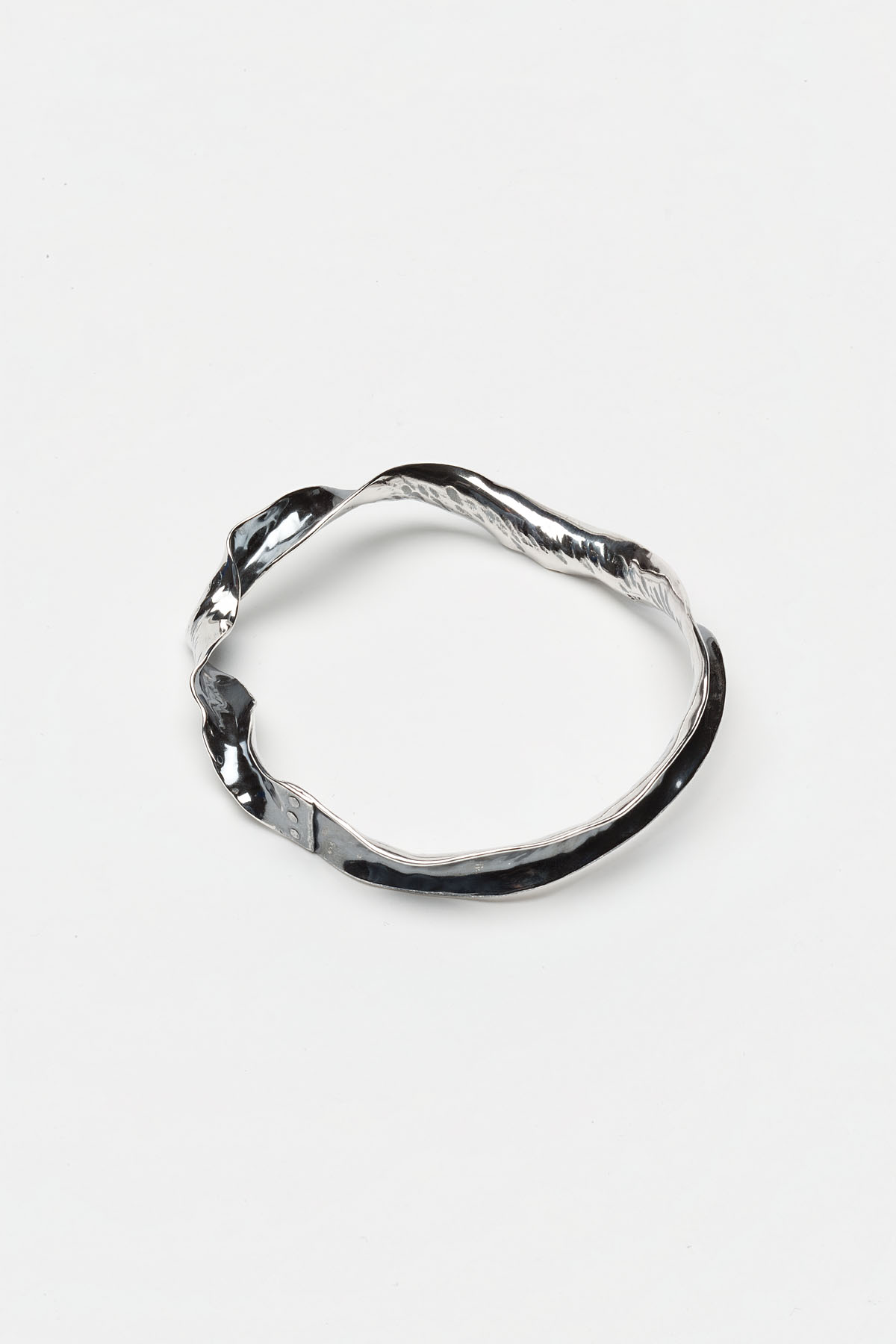Ribbon torque bangle - hand forged anticlastic raised sterling silver - from one of my first stock production collections, 2009