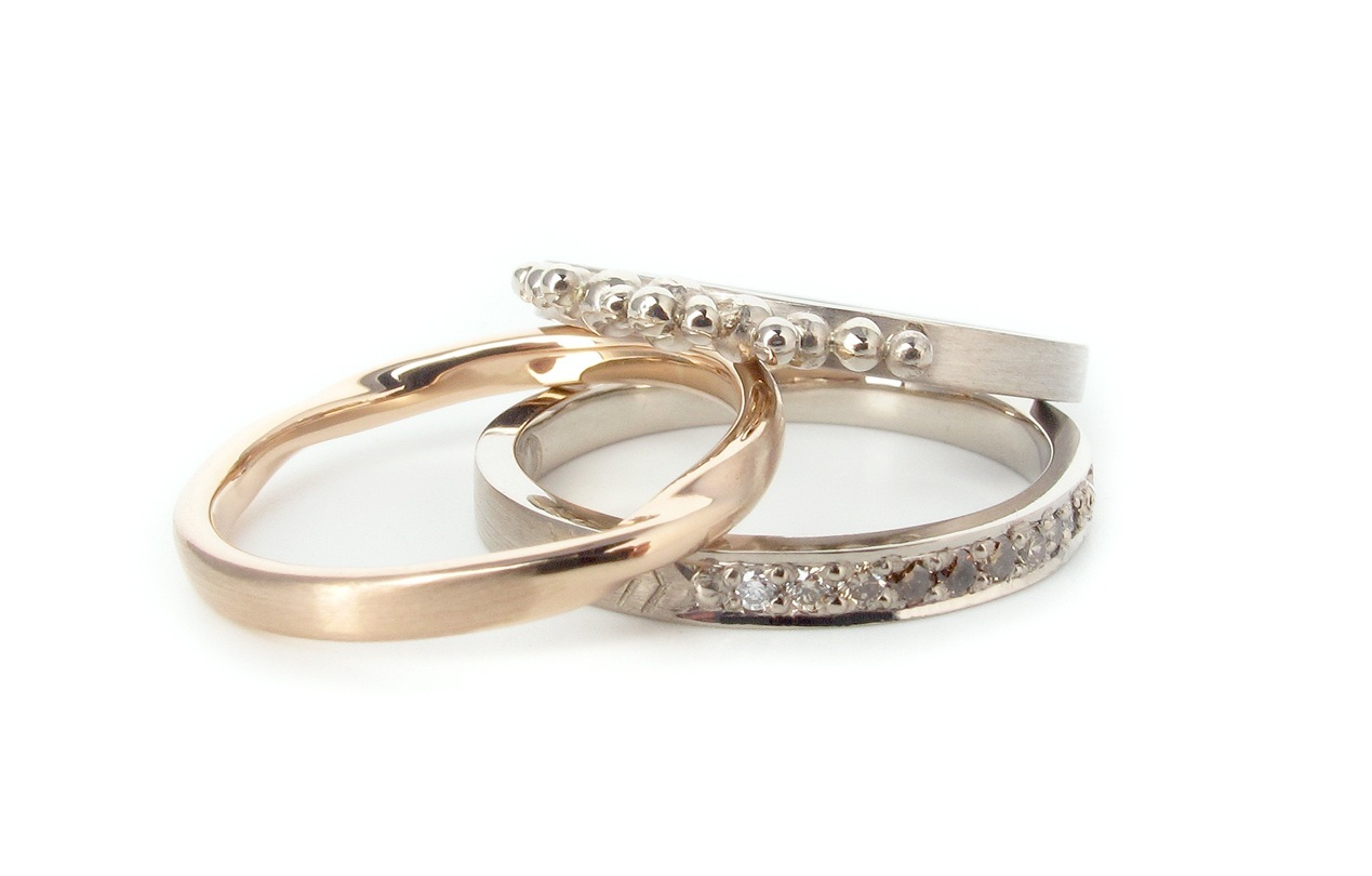 9ct rose gold and 9ct white gold rings