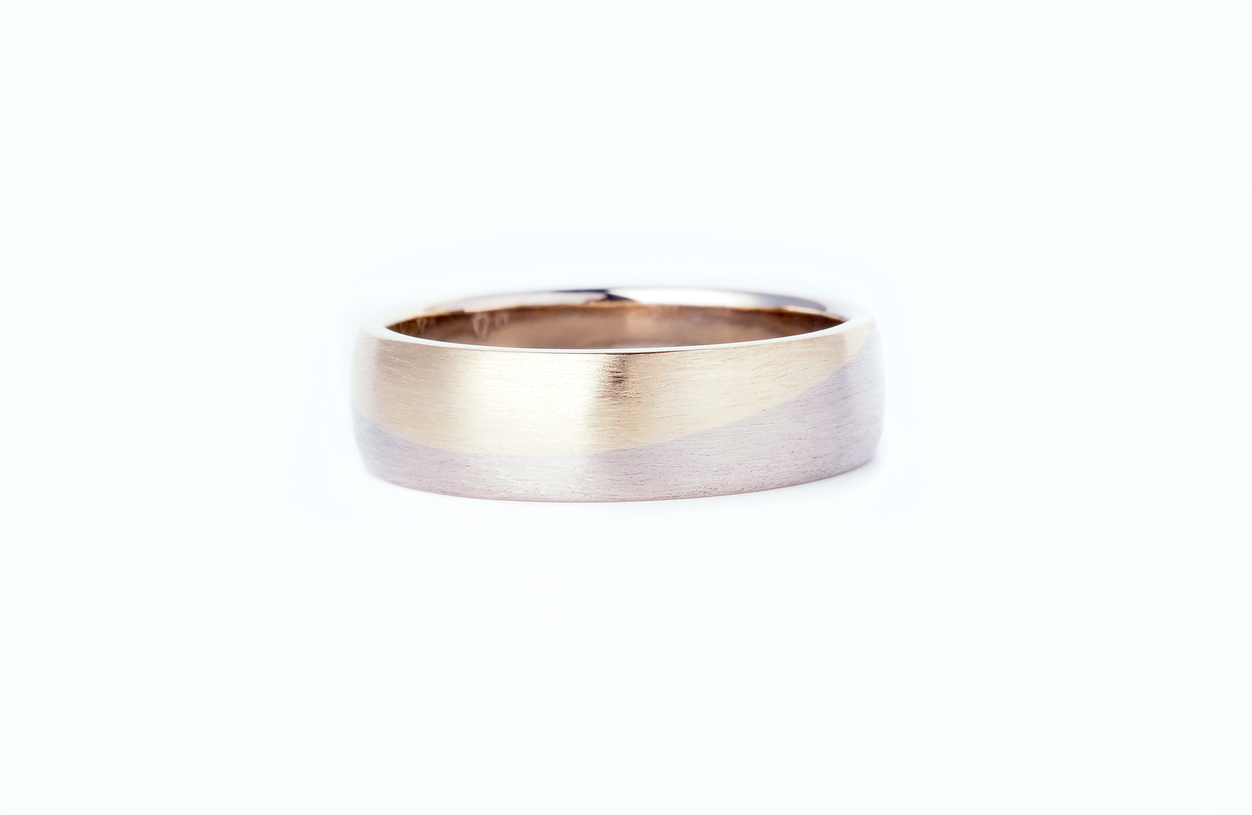 wedding band made using customers recycled heirloom 9ct yellow gold, and new 9ct white gold