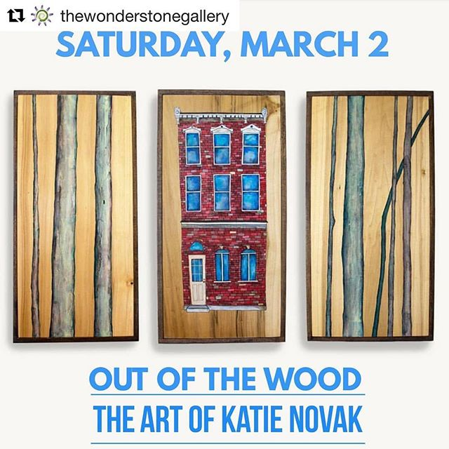 "Hope to see you there! 🥰 . . . #Repost @thewonderstonegallery with @get_repost ・・・ 🎨🖌️ The Wonderstone Gallery is pleased to announce our featured artist for March 2019: ""OUT OF THE WOOD"" - the Art of Katie Novak  Paintings that carry the profound serenity of nature into the hubbub of urban life.  Opening reception Saturday March 2, 5-7pm open to the public - free admission - light refreshments  Wine Tastings offered by Case Quattro Winery (purchases available)  Exhibiting March 1 through April 2, 2019 with daily afternoon browsing hours.  For more information, please contact the venue 570-344-2360 ☮️💚🔆 @ktoenova  @casequattro #art #artist #gallery #galleryopening #painter #woodwork #nature #firstsaturdaywonderstone"