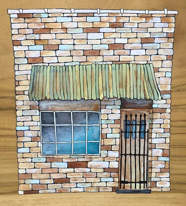 Oh hey! 👋 I'm still painting brick buildings on wood... . . #katienovakart #rowhome #woodart #handmadestuff #madewithlove #woodpainting #phillyartist
