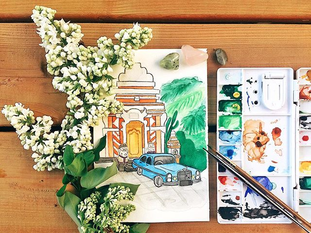 A quick watercolor sketch of Bali. I've been enjoying the little details of my culture through @thetravelingman.co 's travel photos of my homeland. Go to his profile to see the actual photograph of this watercolor piece and follow his travel adventure in my beautiful Indonesia 🇲🇨 . . . #vscox #hellosleepywhale #wonderfulindonesia #bali #travel #watercolor