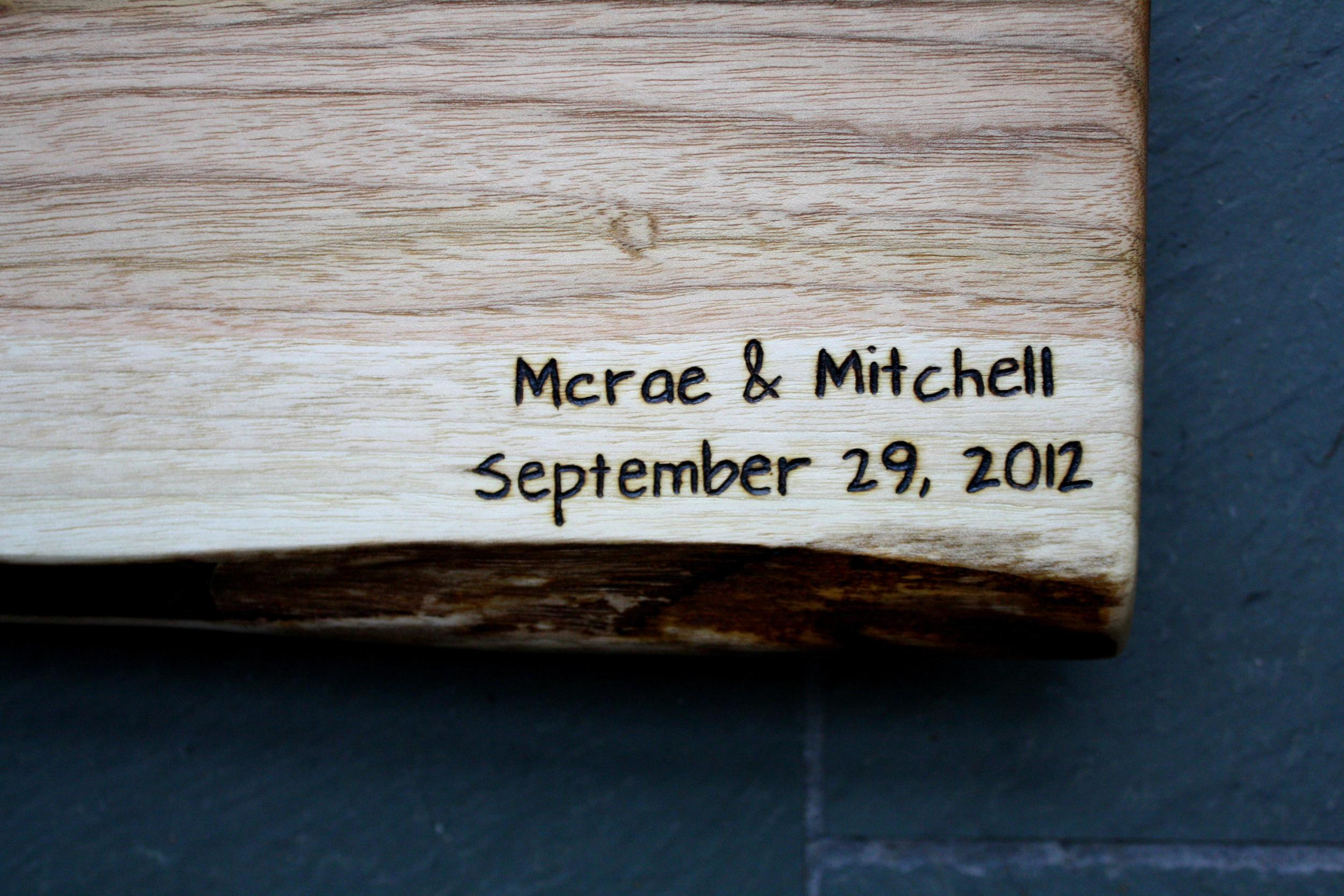 Names and date engraving on Butternut