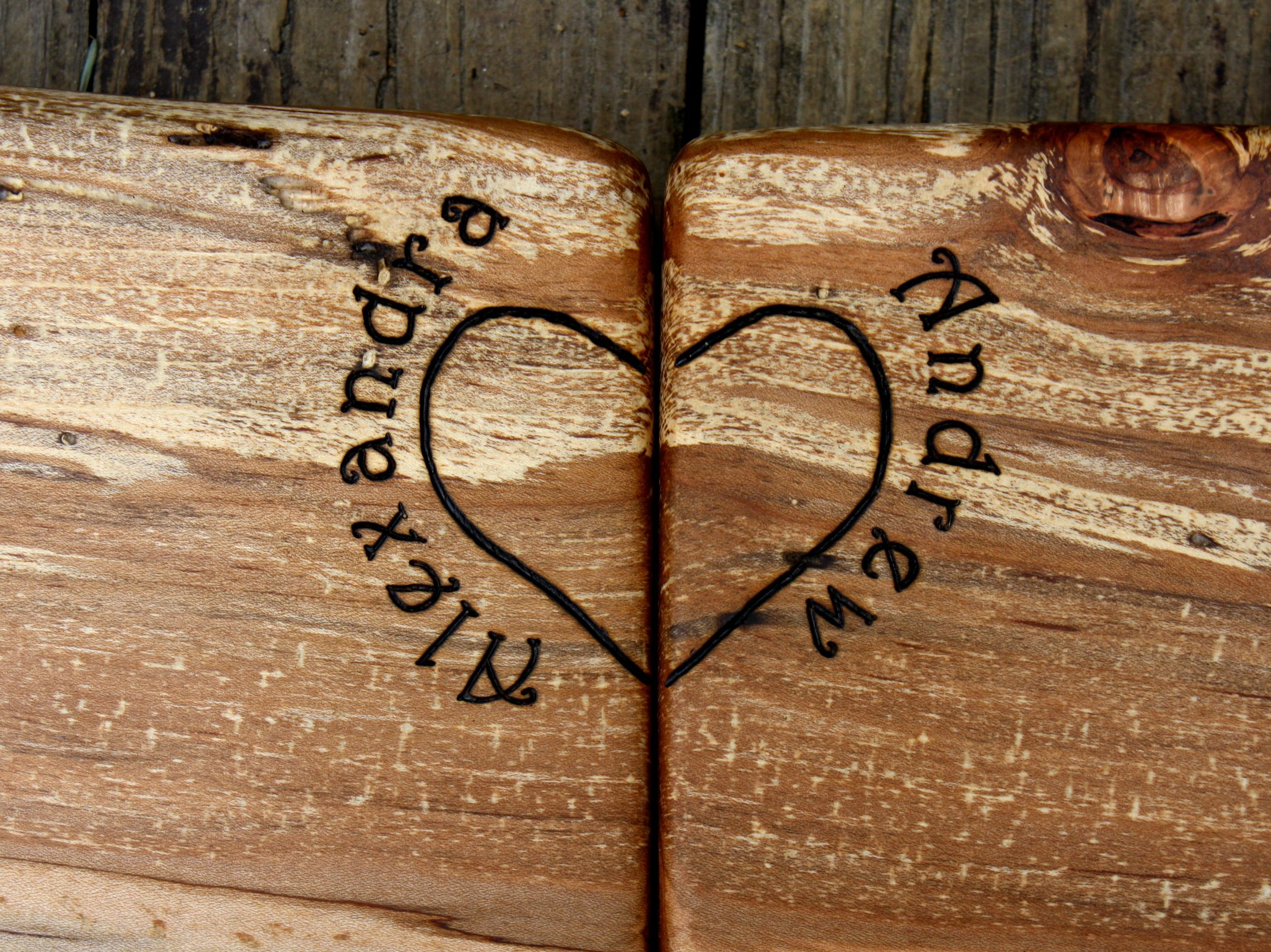 250 heart with names on spalted black cherry