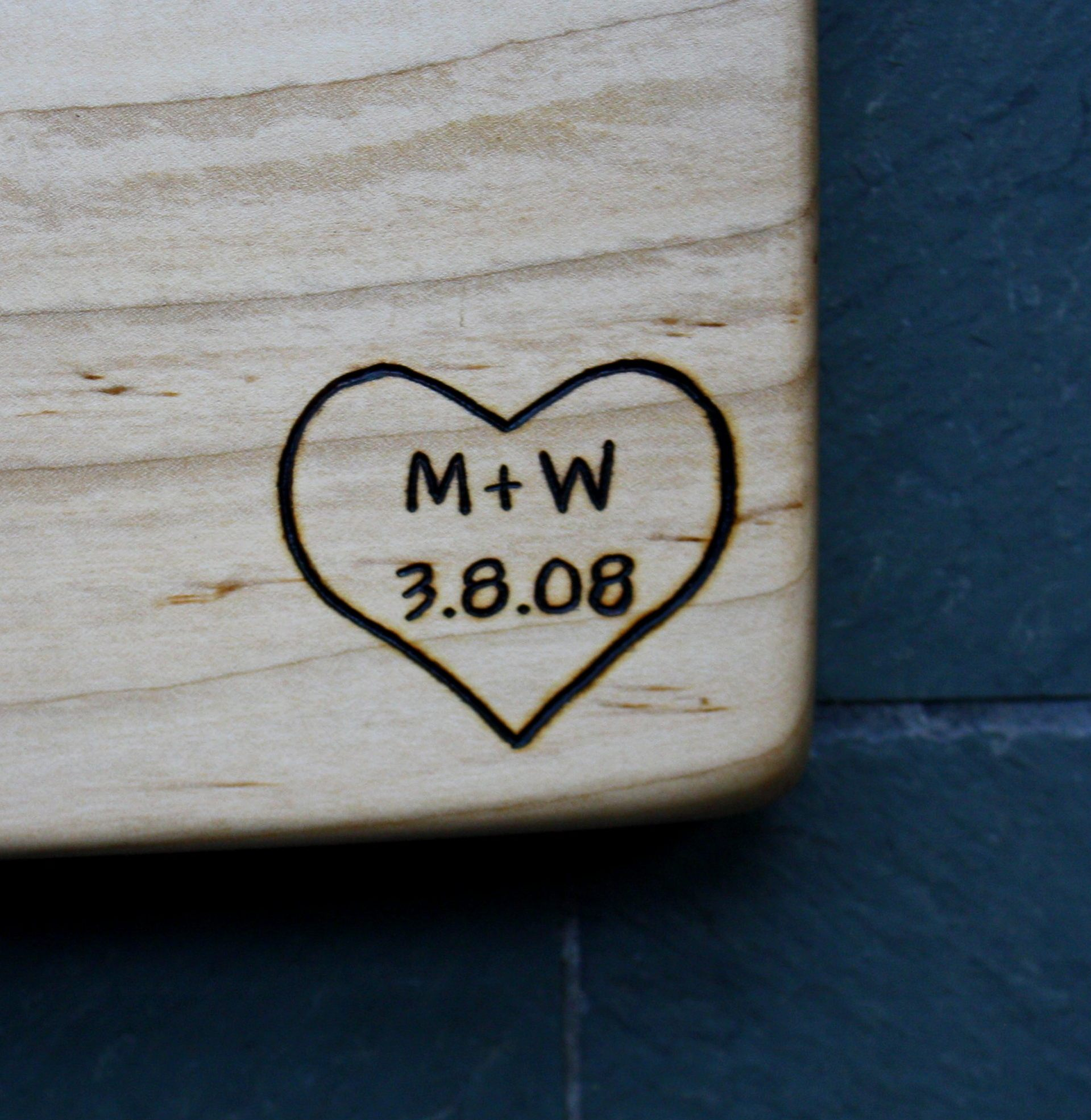 299 heart with initals and date on maple