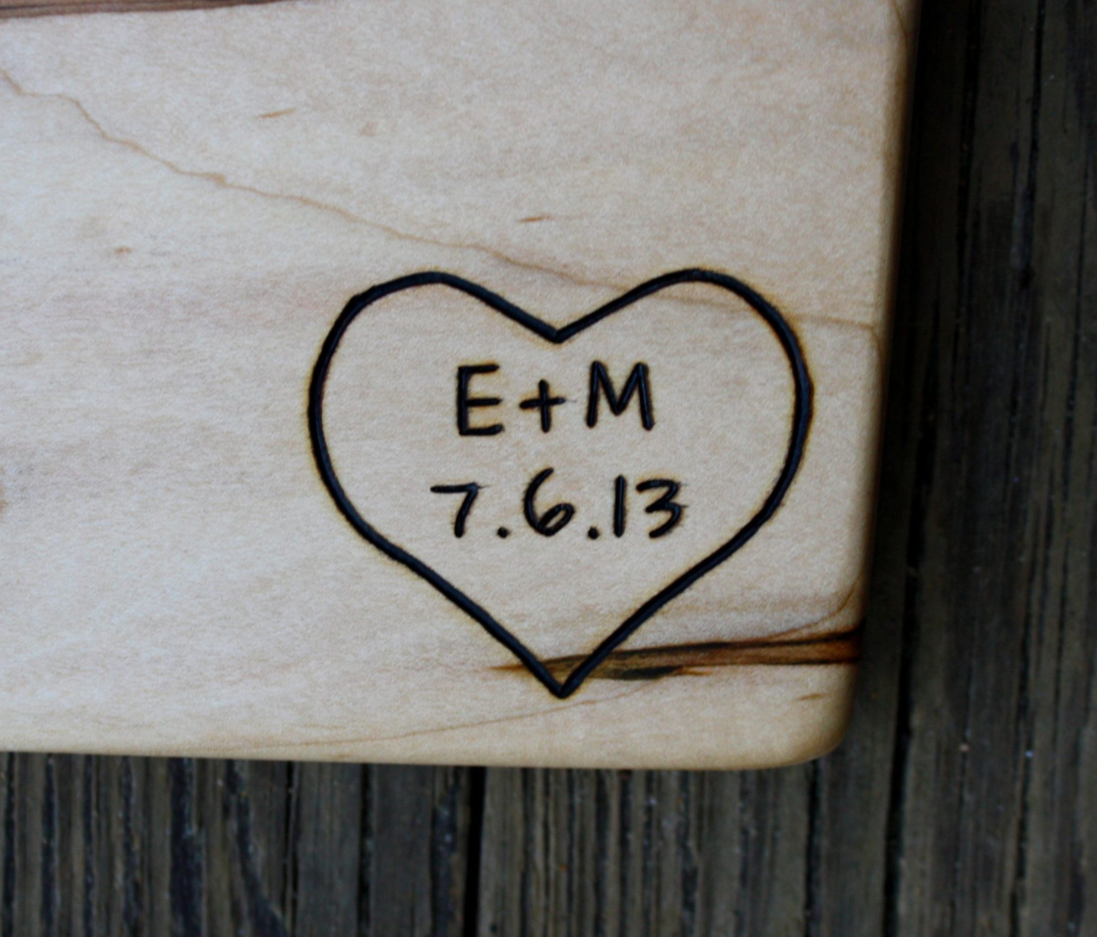 305 heart with initals and date on maple