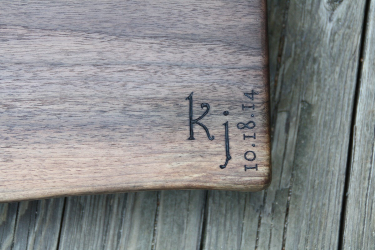 Initial Monogram on Black Walnut