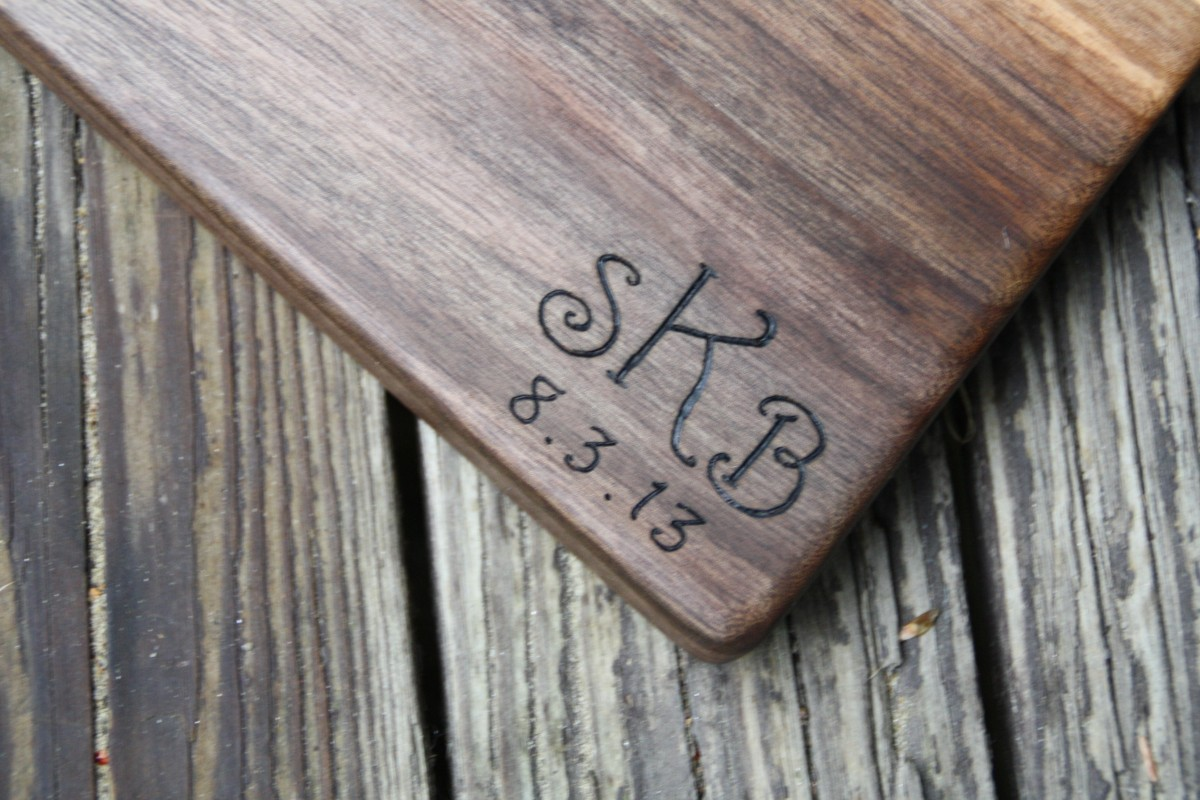 Script Monogram on Black Walnut