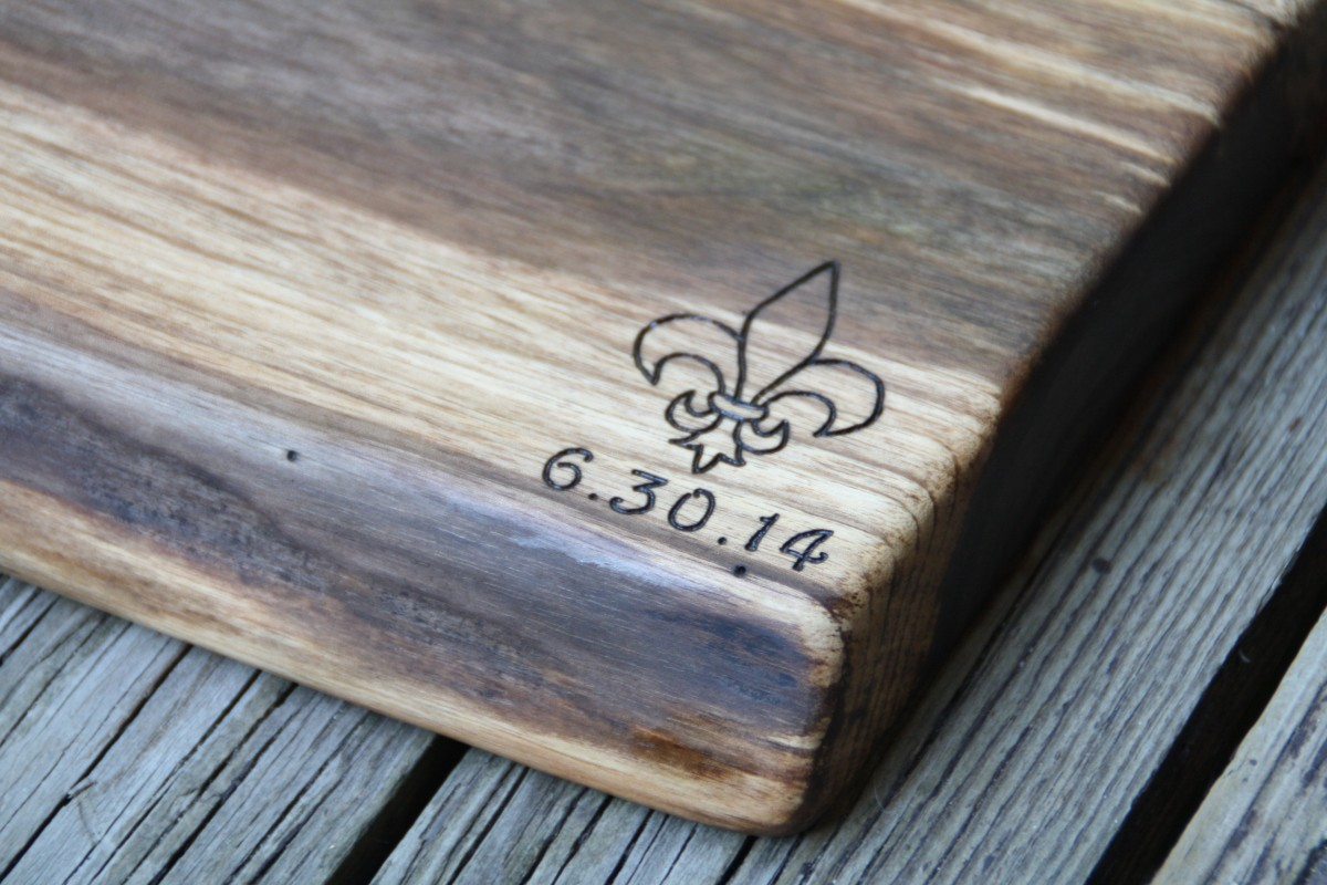 Fleur-de-lis design on Black Walnut