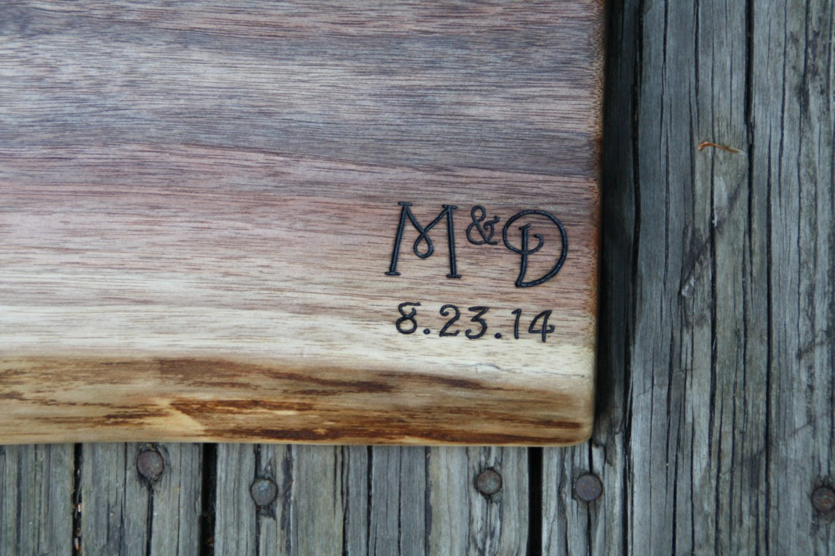 Initials and date on Black Walnut