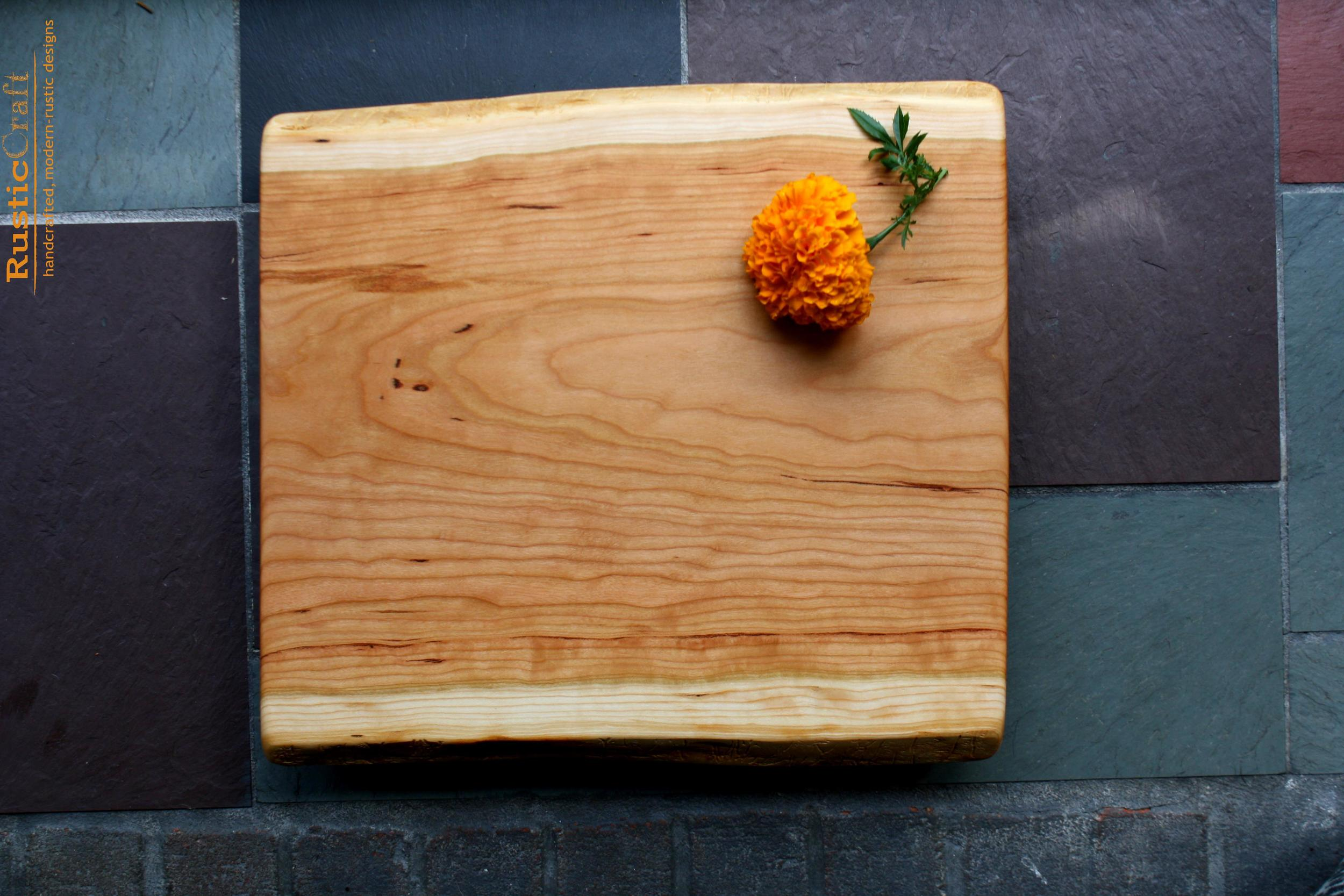 Footed Cutting Board -Rustic Black Cherry - Cheese Serving Board- Wood Anniversary Gift 408