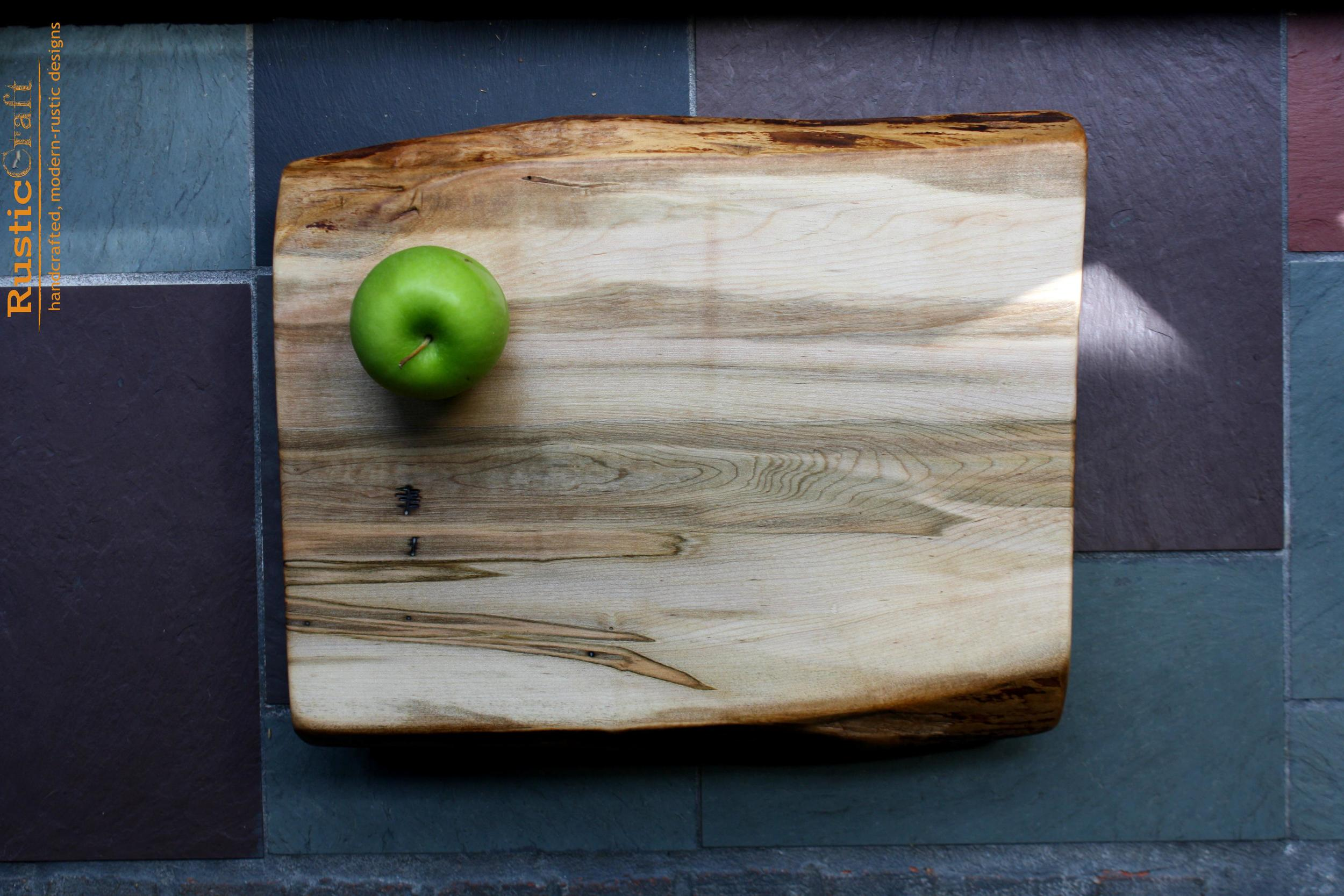 Hard Maple Organic shape live edge- Personalized Cutting Board - Unique Wedding Gift 413