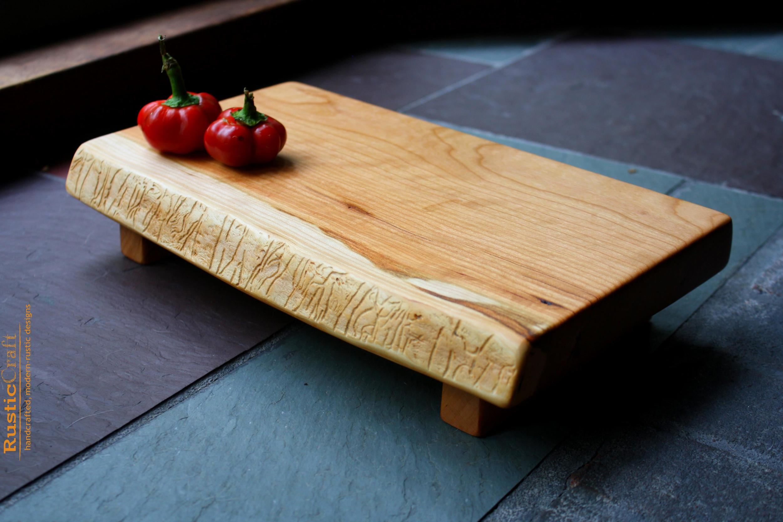 Rustic Wedding Gift- Small Footed Black Cherry Cutting Board -Handcrafted Rustic Beeswax & Oil 415