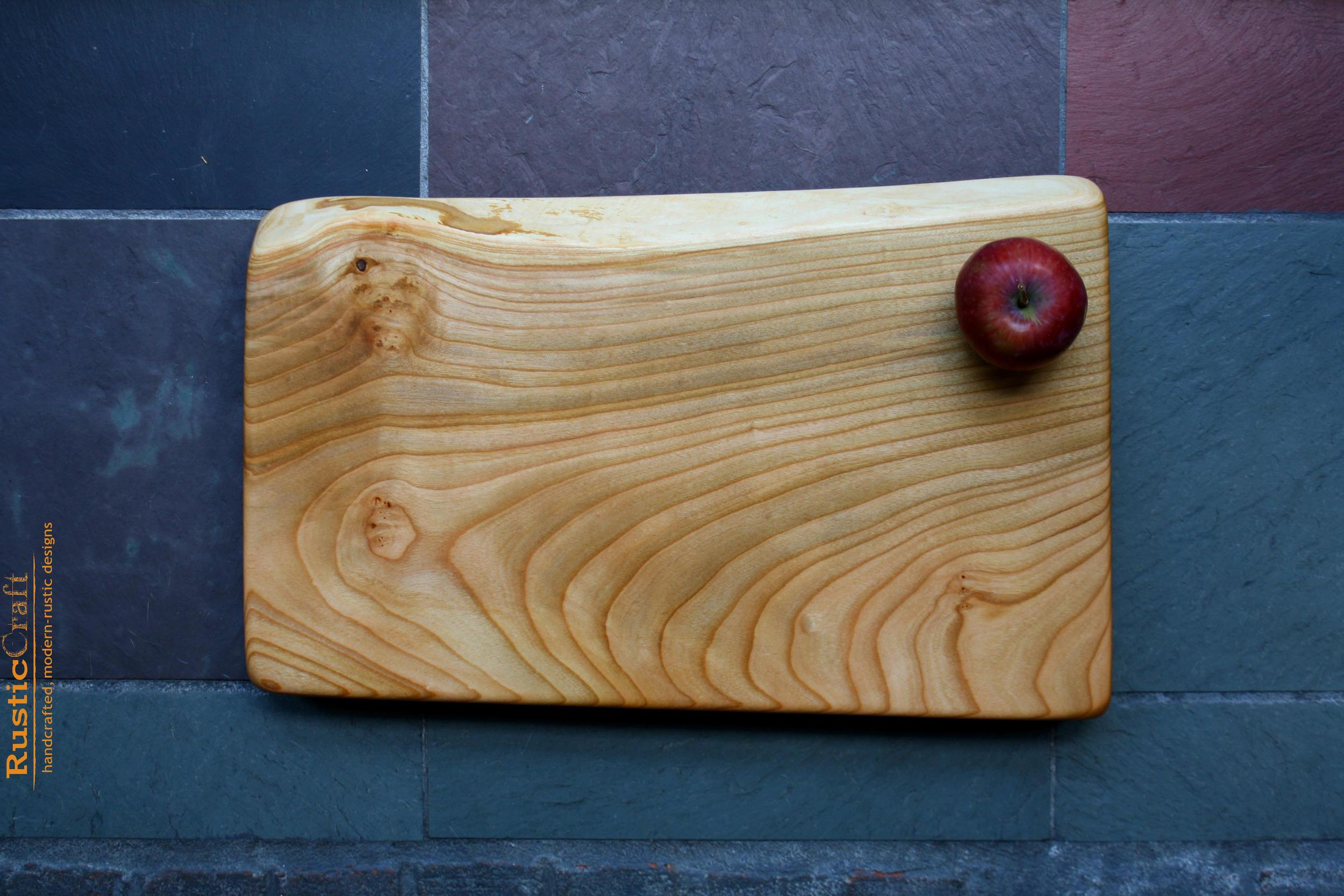 Rustic Wedding Gift - Personalized Kitchen Cutting Board - Large Wide Curvy Grain Thick Cherry Block 421