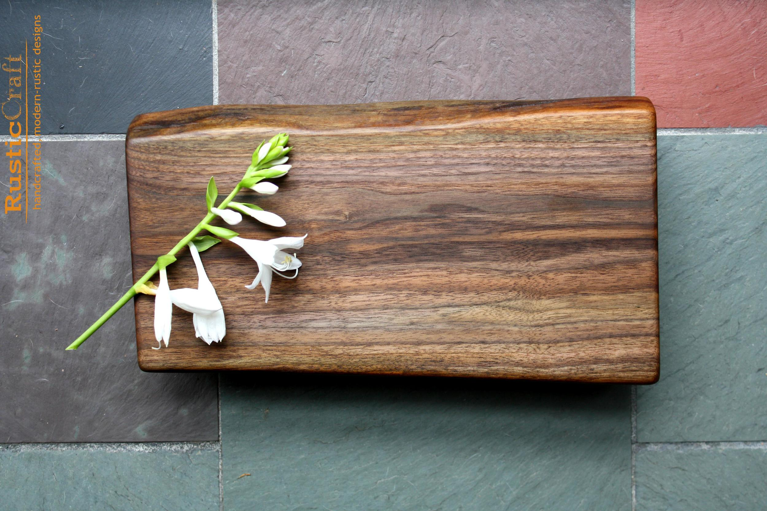 Personalized Kitchen Gift- Small Footed Black Walnut with Live Edge- Unique Wedding Gift 439