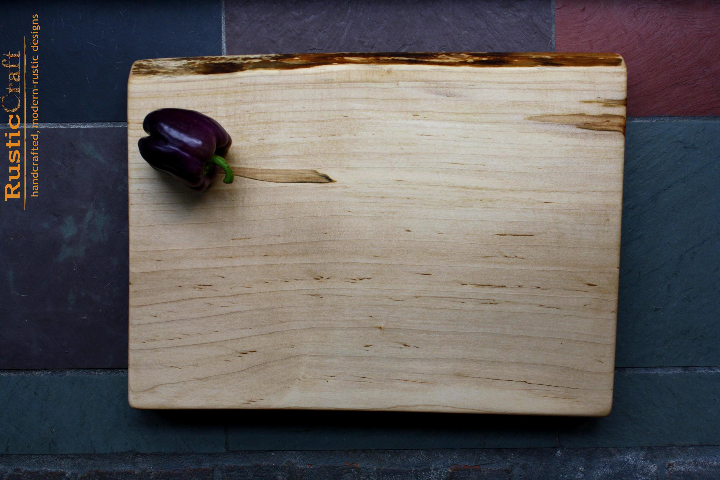 Unique Wedding Gift- Thick Maple Cutting Board with Live Edge and Ambrosia Figure- Hand engraved personalization - 441