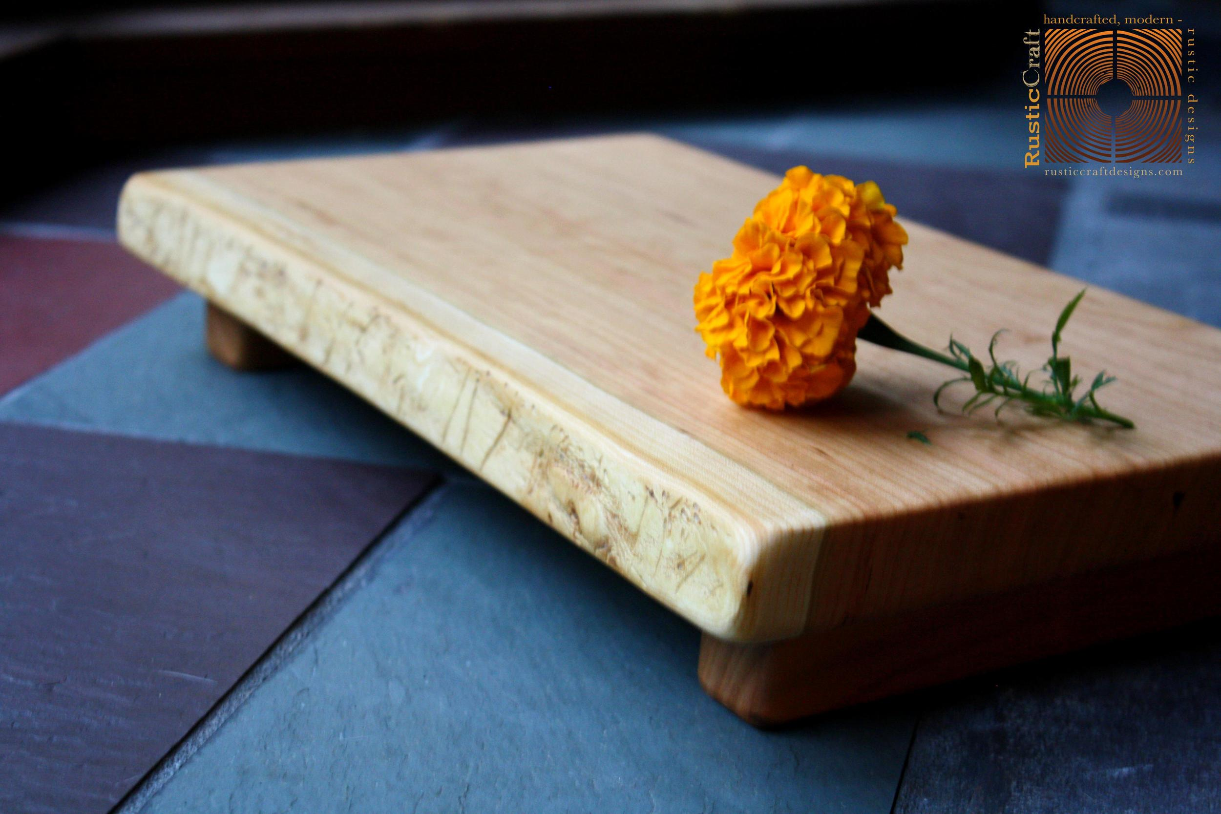 Sapwood Cherry- Medium Footed with live edge- Cutting Board - 5th Anniversary Gift- 454