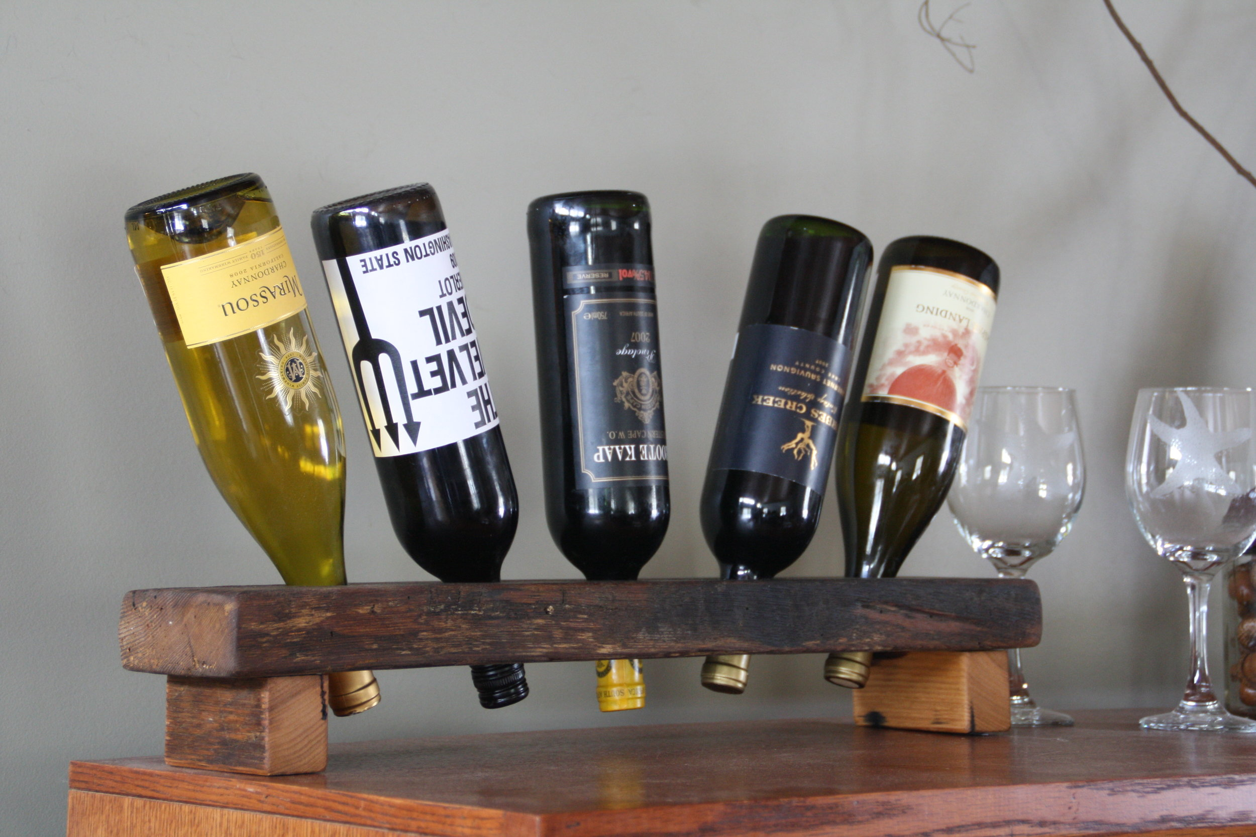 5 Bottle Reclaimed Wood Riddling Rack
