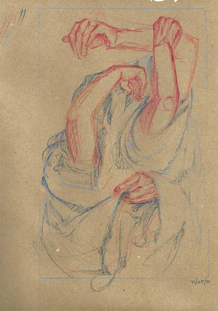"Composition/idea/approach exploration sketch for a project I've been referring to as The Dress Paintings. Pastel pencil on kraft, 9""x12"" November 2011"