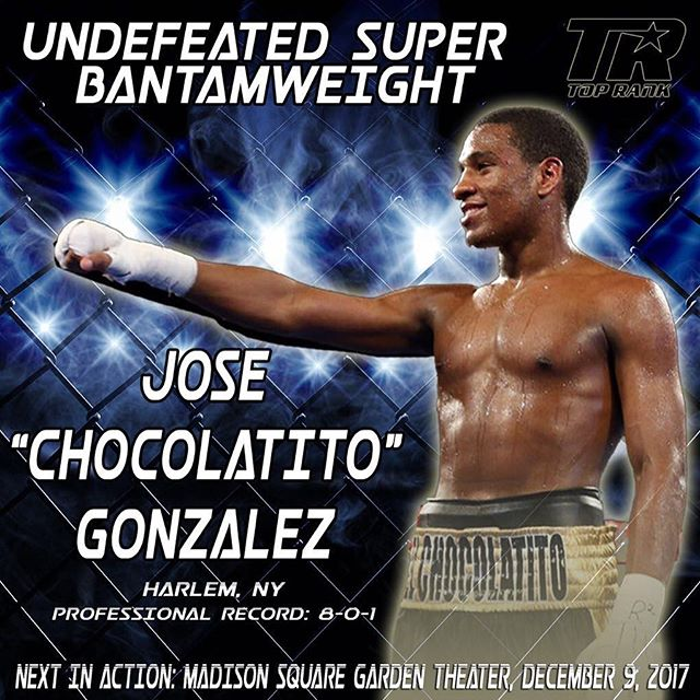 Come out and support my brother @chocolatitojg fighting December 9 at MSG on the @lomachenkovasiliy and @rigoelchacal305 undercard 💪🏼👊🏼