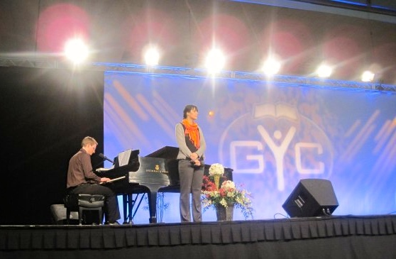 Singing 'He Knows' at GYC 2009. The third time we had sung together in public.