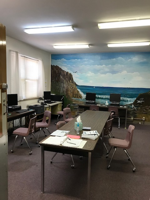 Their adult resource room. Computers available for community people to do job searches, job applications, work on GED items, etc.