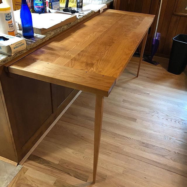 Fold down cherry table top. For a wonder customer. #woodworking #kitchendesign  #kitchen #interiordesign #cincinnati #woodshop #furniture