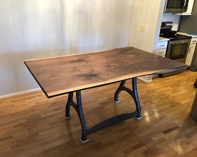 A live edge walnut table in its new home. #interiordesign #woodworking #furniture #furnituredesign #covington #liveedge