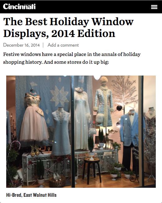 2014 December Cincinnati Magazine Best Holiday window displays