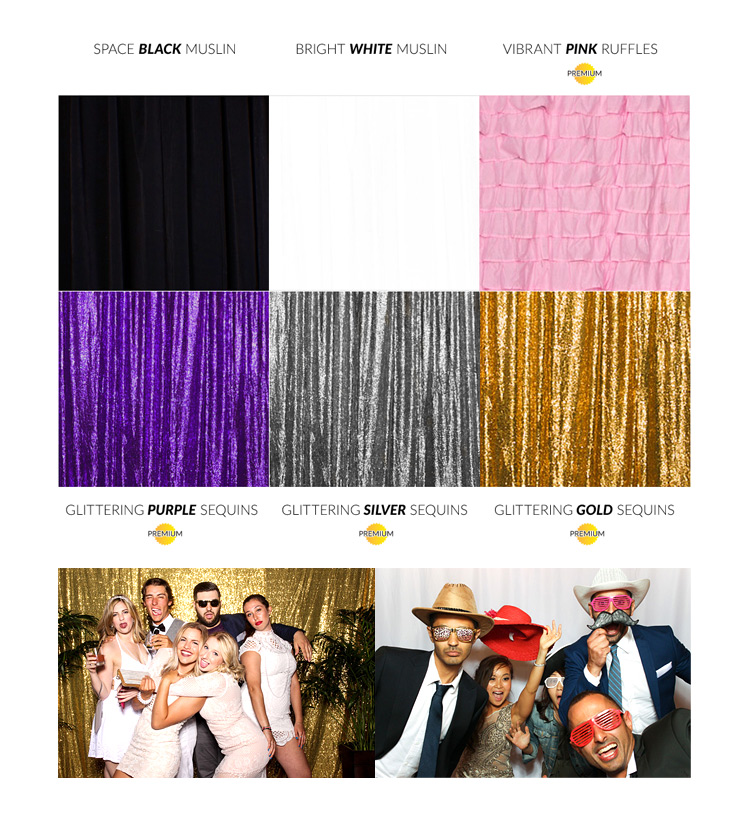 Our ever growing selection of photo booth backdrops, including sequins and ruffles!