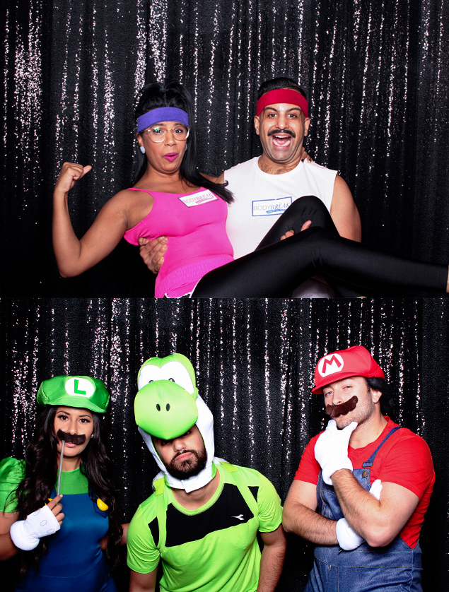 The black sequin photo booth backdrop certainly looked sharp at this Halloween party!