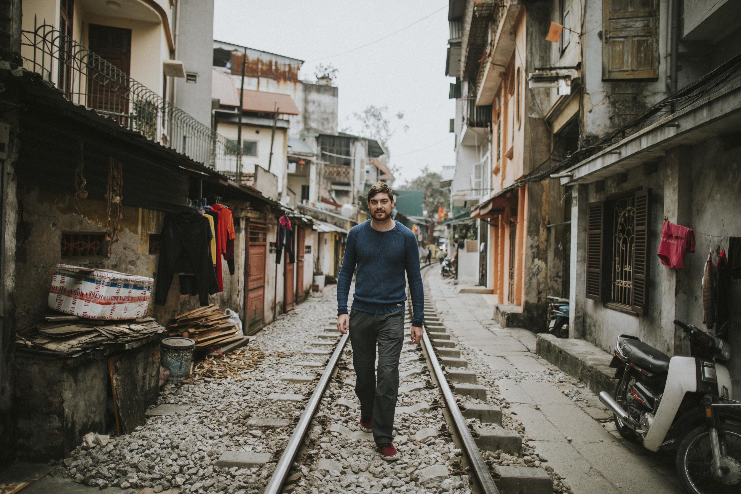 Richard walking the tracks