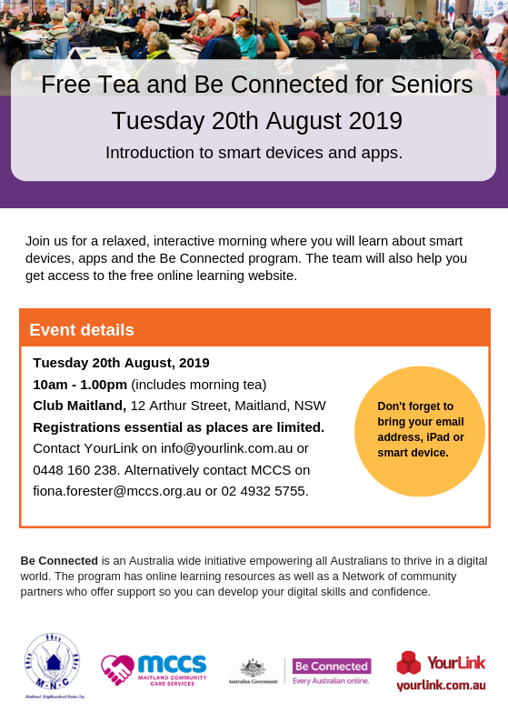 Tea and Be Connected Maitland 20th August 2019 A5 Flyer.png