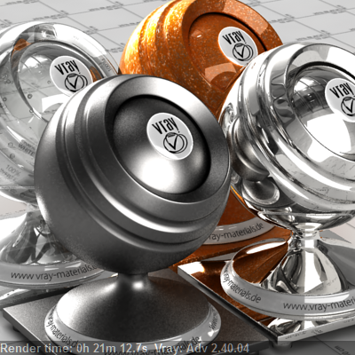 Carpaint, glass, chrome and glosses metal rendered on one CPU Vray 2.4 0:21:12.7 Seconds.