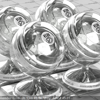Glass Material rendered on one CPU   Vray 3.05  0:13:49.1 Seconds - 386.44%  Faster