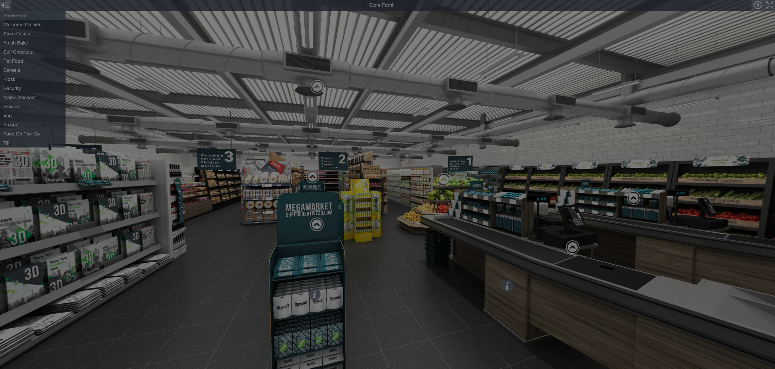 Tour around a 360 interactive supermarket store. - To guide yourself around the 3D supermarket food store click here, look around the supermarket aisles.
