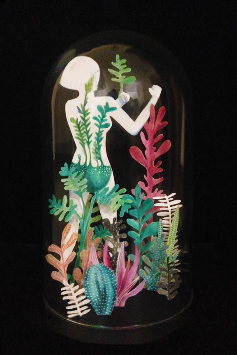 Aaaniya Asrani  ,  A Strong Woman, Water Colour, paper cut diorama. 8.5 x 11 inches, more  here.