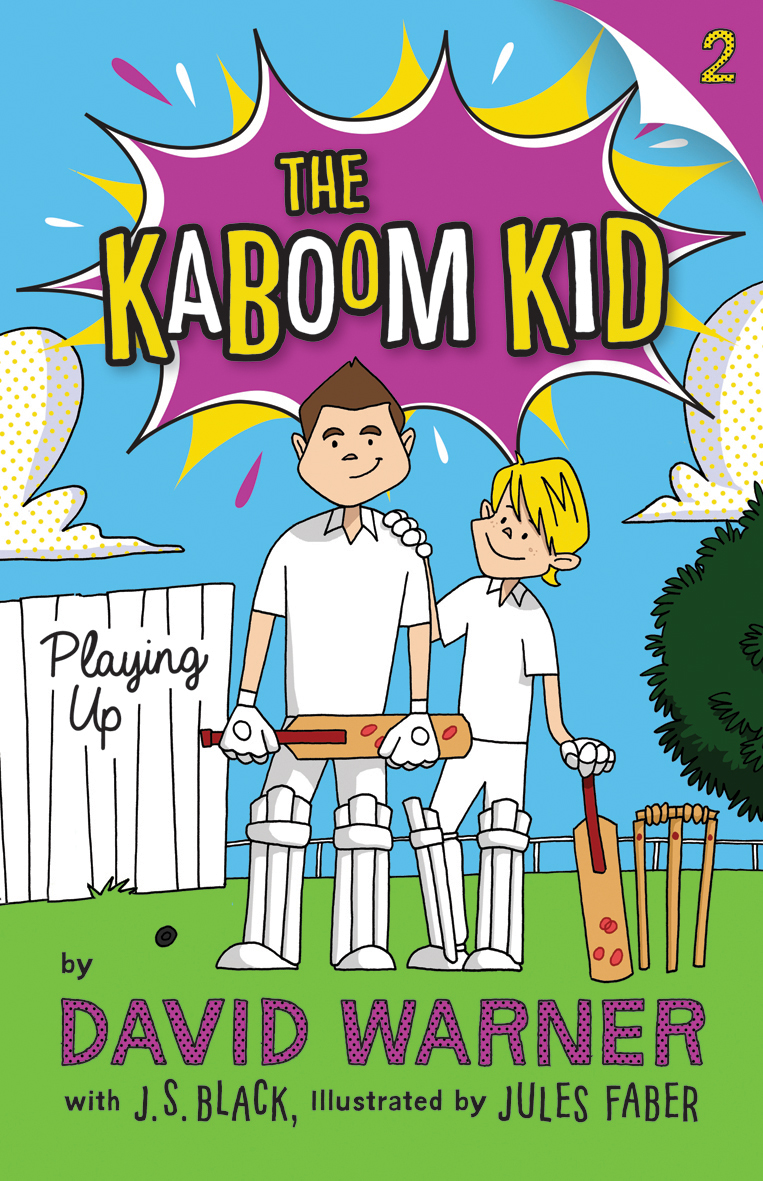 Playing Up  Meet Little Davey Warner. He lives in Sandhill Flats with his mum and dad and his brother Steve – and his stinky dog Max. Davey and his schoolmates –even Max – are MAD for cricket. All they want to do is play … but there's always something getting in their way. In this second book in the series, Davey wishes he could be as good a cricketer as his older brother Steve, who's always telling him to practise more. And there's nothing else that Davey and his mates like to do more – the classroom is as good as the playground, right? Mr Mudge, the Year 6 teacher and absolute grump, doesn't think so, especially after being donked on the head by the ball, and confiscates Davey's precious bat, 'Kaboom'. What's Davey going to do without his precious bat? It's like a part of his body. And of course a selector has turned up at club training, and Davey's HOPELESS without his bat. He's really happy for his mate, Sunil, though, who the selector taps on the shoulder.