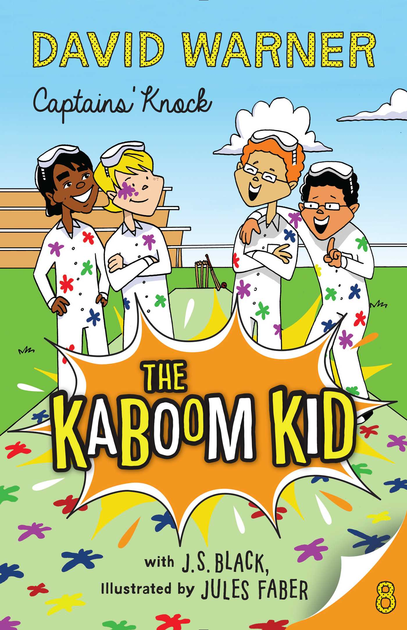 Captains' Knock: Kaboom Kid #8  Davey and his friends are off to Gold's Camp Cricket to help them get an upper hand on the summer of cricket ahead. Sunil and Davey have their eyes on the prize – Sunil as captain, and Davey as vice. But at camp they run into a new nemesis, Kaine – the opposition's captain and Class A dictator. Between paintball, pranks and poltergeists Sunil and Davey have their work cut out for them. And what – or who – is appearing in Davey's dreams to give him advice? Can Sunil and Davey prove they are worthy of the leadership of their team? And who has Davey got lined up to help them win?