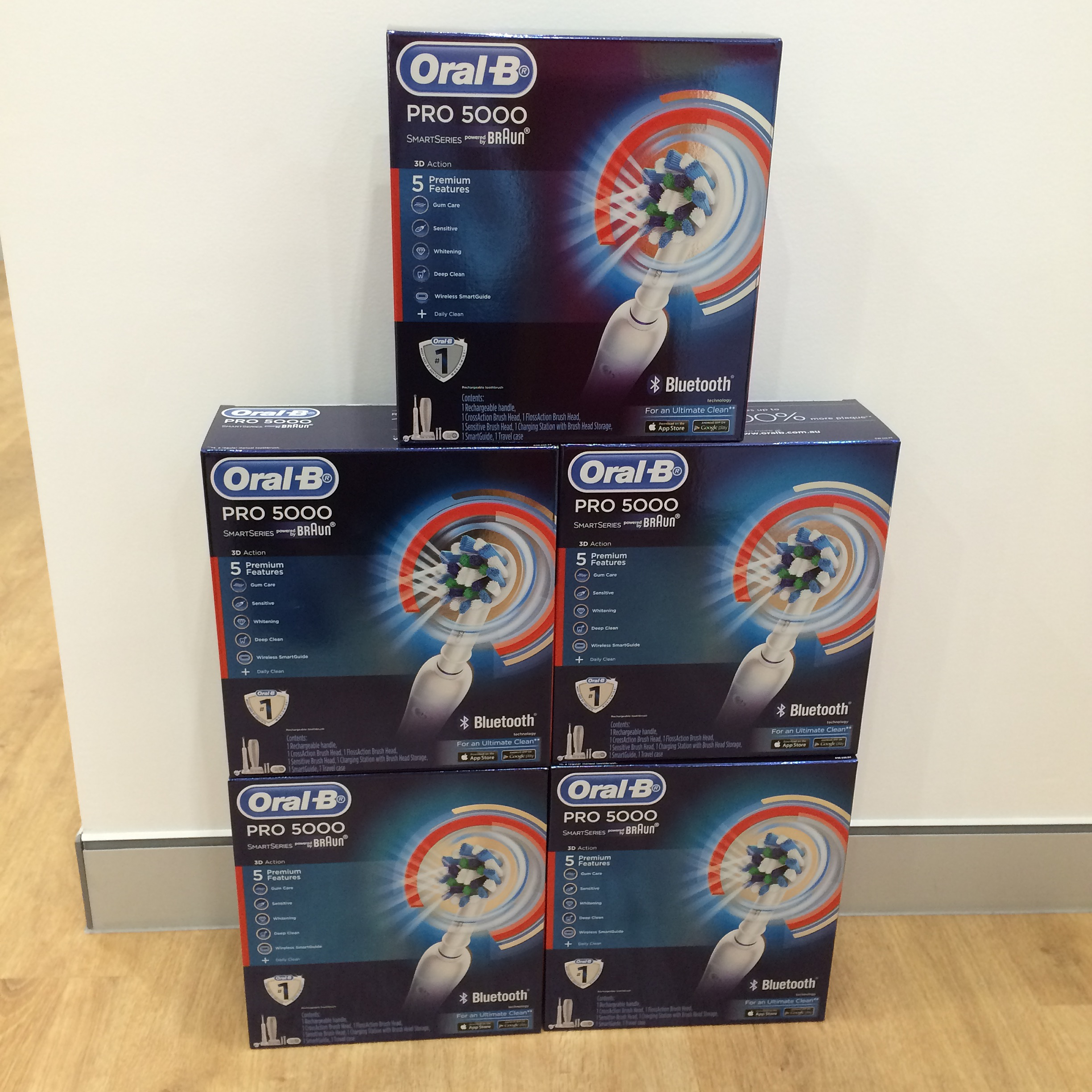 Boxes of new electric toothbrushes