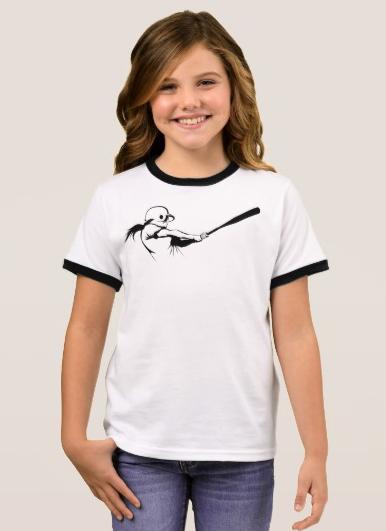 Girl Softball Hitter Ringer T-Shirt