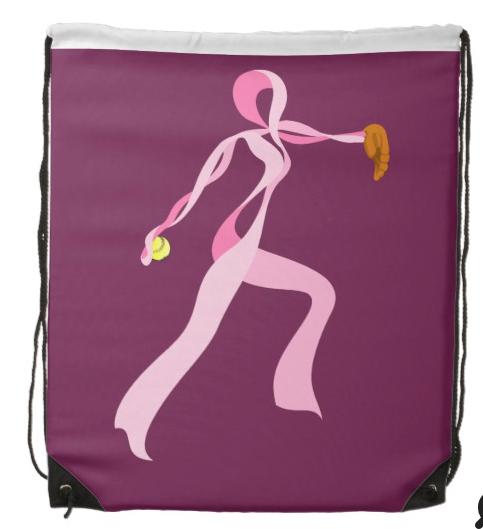 Pink Ribbon Softball Pitcher Drawstring Backpack