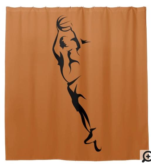 Woman Basketball Layup Shower Curtain